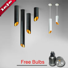 Free bulb 60mm LED Ceiling light Cord lamps GU10 7W Kitchen Company Table Pipe Tube Lamp Dining Room Bar Counter Shop(China)
