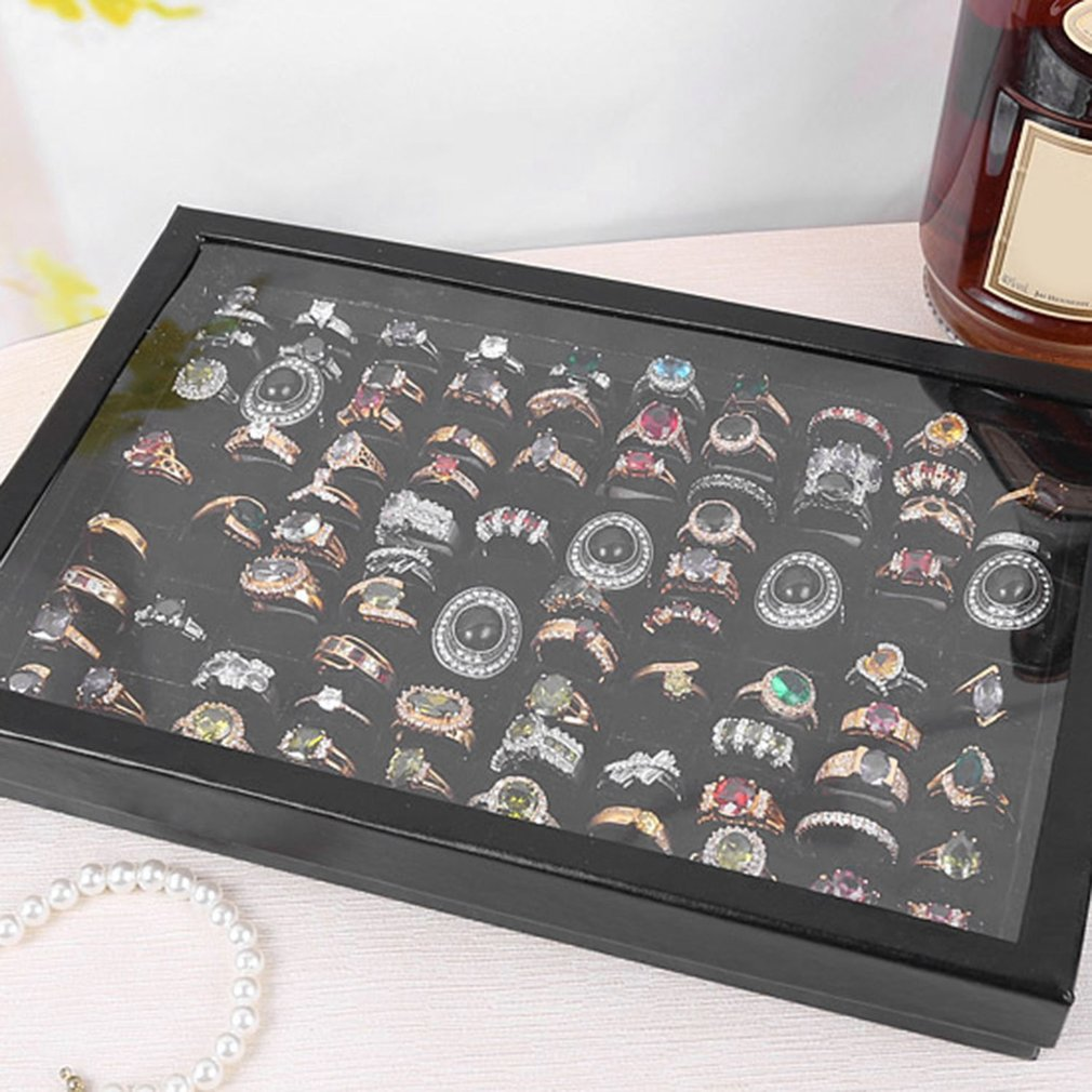 Fashion 100 Grids Jewelry Tray Case Ring Display Box Portable Ring Carrying Box Tray Holder Accessories Storage Box Organizer