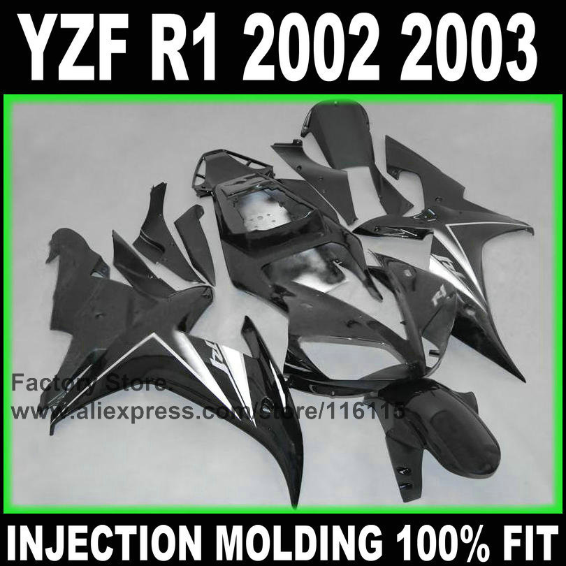 In sale! Motorcycle ABS Full injection fairings kit for YAMAHA 2002 YZF R1 2003 R1 02 03 black silver fairing parts