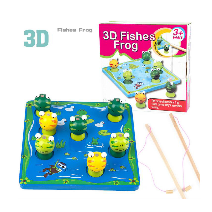 Onshine Funny Kids Wooden Catch Frogsmagnetic Puzzle Fishing Pool Rod Educational Toy Lovely Parent-child Interactive Game