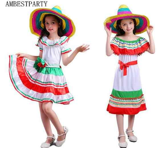 Hot 2017 Halloween Cosplay Costumes Mexico style clothes Mexico Cloak Straw  hat performance Kids Fancy Party 0fddc19f8e42
