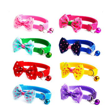 200pcs Candy Color Adjustable Bow Tie Bell Bowknot Sale Collar Necktie Puppy Kitten Dog Cat Pet