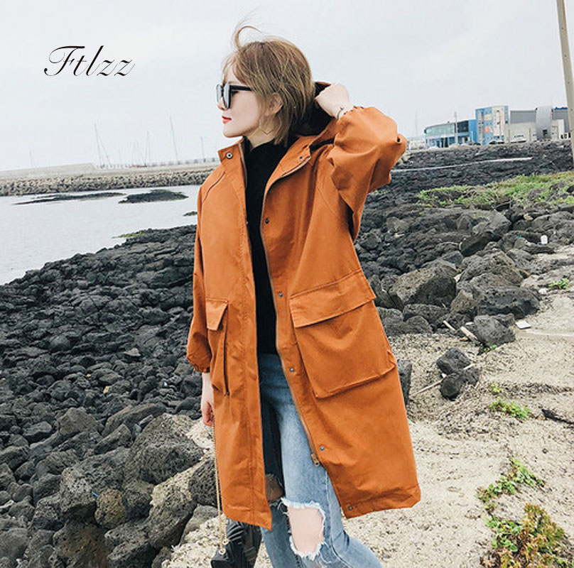 Coat Woman Windbreaker Spring Black Autumn Long Plus-Size Casual Ternch Harajuku Medium
