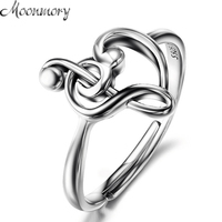 Moonmory 925 Sterling Silver Music Note Heart Adjustable Rings Treble Clef Jewelry Heart Charm Music Ring