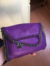 Purple color shaggy deer pvc luxury quality chain crossbody mini flap shoulder bag factory sale
