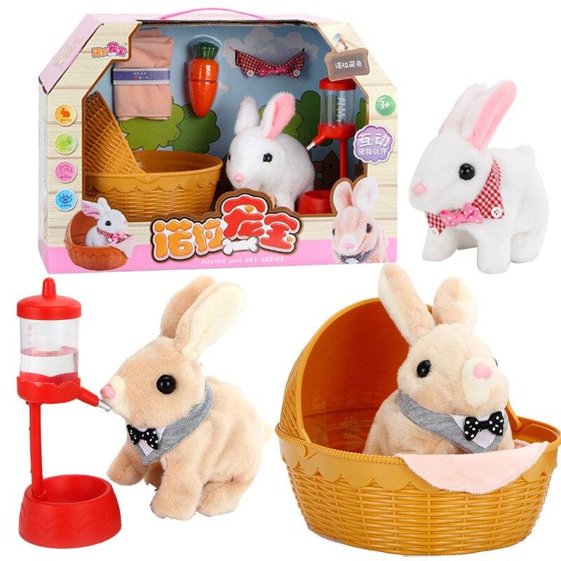 Heureux Robot lapin jouets électroniques en peluche lapin jouet pour animaux de compagnie marche arc nez secouer oreilles jouets pour enfants cadeaux d'anniversaire