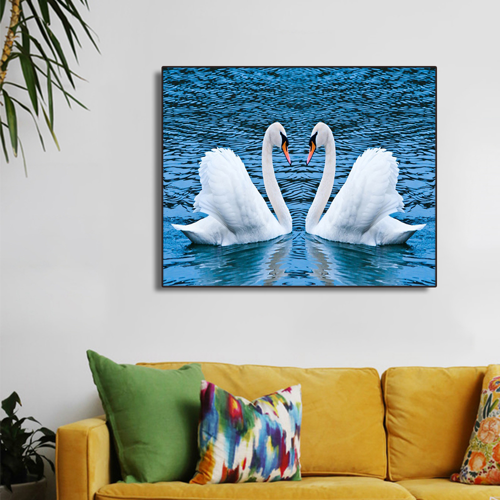 Two Swans on the Lake Wall Art Canvas Posters Prints Modern Art Oil Painting Picture For Kitchen Bed Living room Wall Decoration in Painting Calligraphy from Home Garden