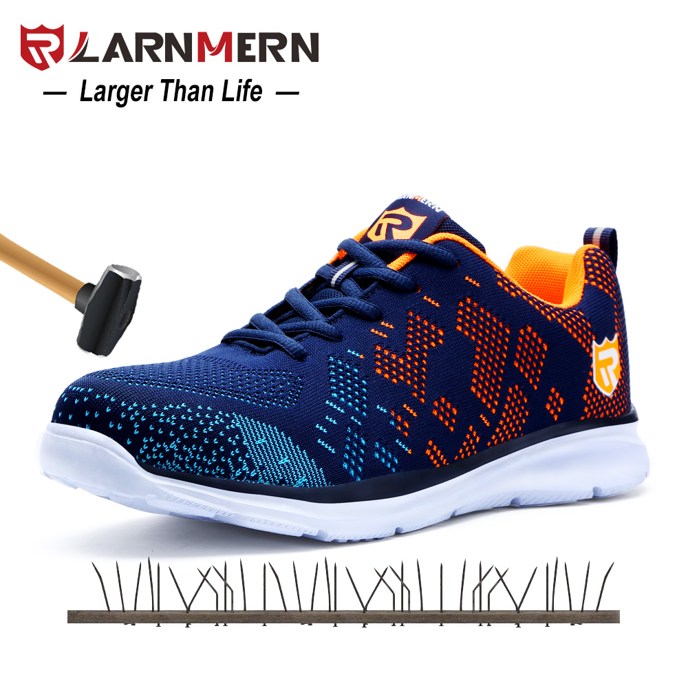 Larnmern Light-weight Breathable Males Security Sneakers Metal Toe Work Sneakers For Males Anti-Smashing Building Sneaker With Reflective