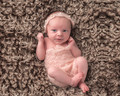 Crochet Newborn Baby Girl Mohair Lace Shells and Pearls Romper with Tie Back Headband Photo Prop, Headband , pants