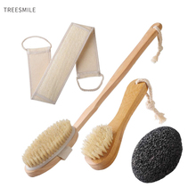 TREESMILE Wooden Bath brush Long Handle Wooden Back Massage Bath Brush Body Clean Brush Natural Bristle Body Dry Brush D30 bf040 bathing brush handle back massage bath brush fur rubbing bath brush artifact removal 9 38cm free shipping