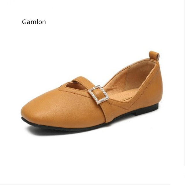 Gamlon Girls Peas Princess Shoes 2017 New Summer Rhinestone Children's Grandmother's Style Shoes Black Flats Leather