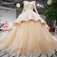 LS09874 high quality formal evening gowns plus size 2018 long sleeve off shoulder 3d flowers elegant evening dress from china