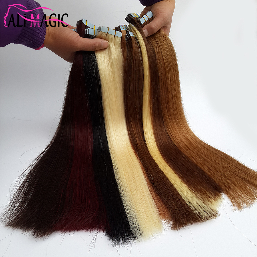 Tape In Human Hair Extensions 40 Pieces 100g Brazilian