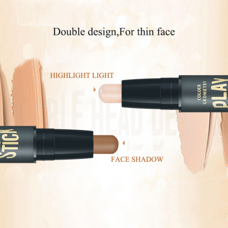 2019 Double-ended 2 in 1 Contour Stick Face Contouring Highlighter Pen Makeup Creamy Hide Blemish Bronzer Concealer Face Primer 2