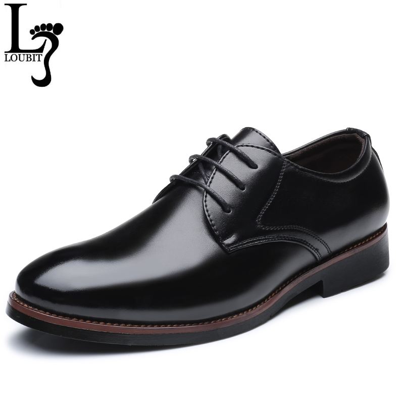 Men Leather Shoes 2018 Male Business Office Dress Shoes for Man Lace Up Solid Black Brown Formal Business Shoes Drop Shipper