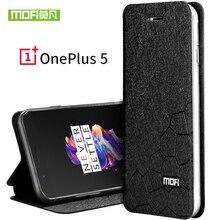 OnePlus 5 чехол силиконовый Роскошные Флип кожаный A5000 Coque Оригинал MOFI один плюс 5 Чехол ударопрочный жесткий Металл броня Fundas