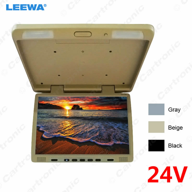 LEEWA 24V Truck Bus 17 inch TFT LCD Roof Mounted Monitor Flip Down Monitor For Car DVD Player Black, Grey, Beige #CA1294LEEWA 24V Truck Bus 17 inch TFT LCD Roof Mounted Monitor Flip Down Monitor For Car DVD Player Black, Grey, Beige #CA1294