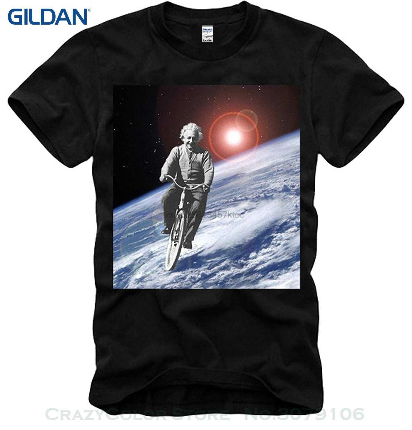 Retro 100% Cotton Print Shirt Tee T-shirt Albert Einstein Space Ride E=mc2 Physics Nobel Prize Black S m l xl
