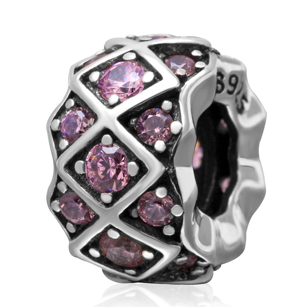 Pink Cubic Zirconia Silver Beads Fit Pandora Charms bracelets Authentic 925 sterling silver Jewelry