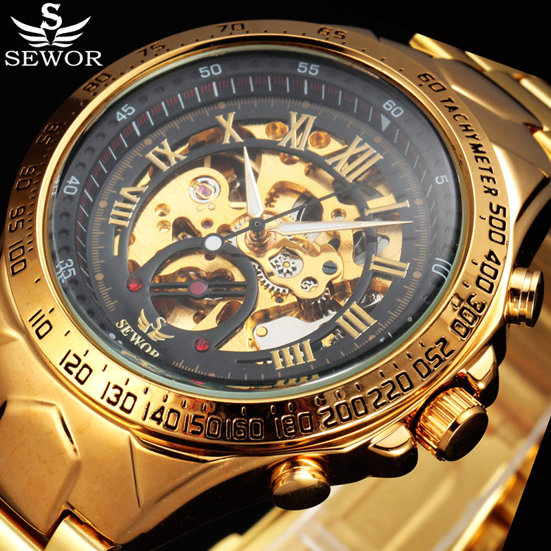 Relogio Masculino SEWOR Men Automatic Mechanical Watch Gold Leather Male Clock Business Fashion Sport Military Skeleton Watches orkina clock men leather skeleton watch classic retro golden case relogio male masculino mechanical automatic watch