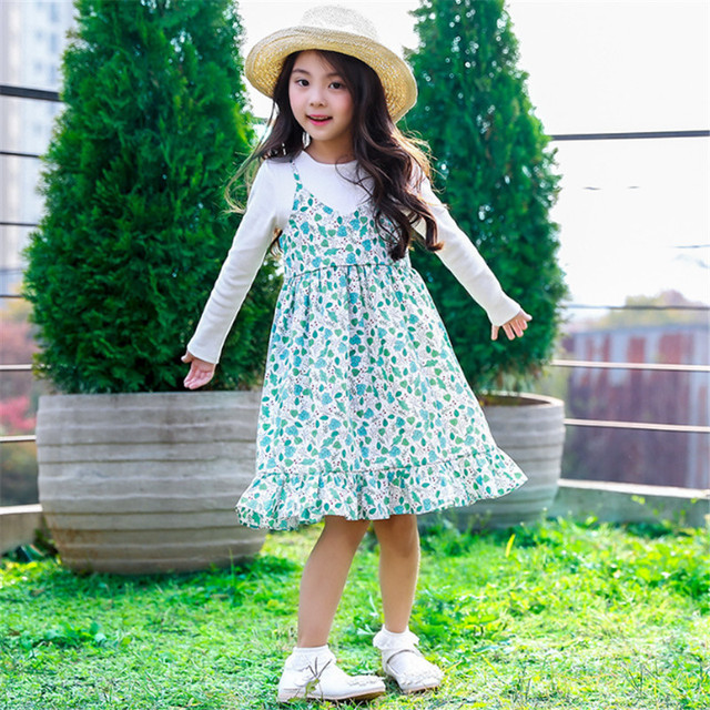 2018 Girls Sling Dress Casual Floral False Two Pieces Dresses For Children Girl Hihg Quality O-neck Knee-length Dress Kids