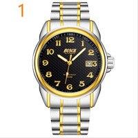 2019 Новое поступление для мужчин's черные часы бизнес календари модные повседневное нержавеющая сталь немеханические кварцевые Wristwatches.7