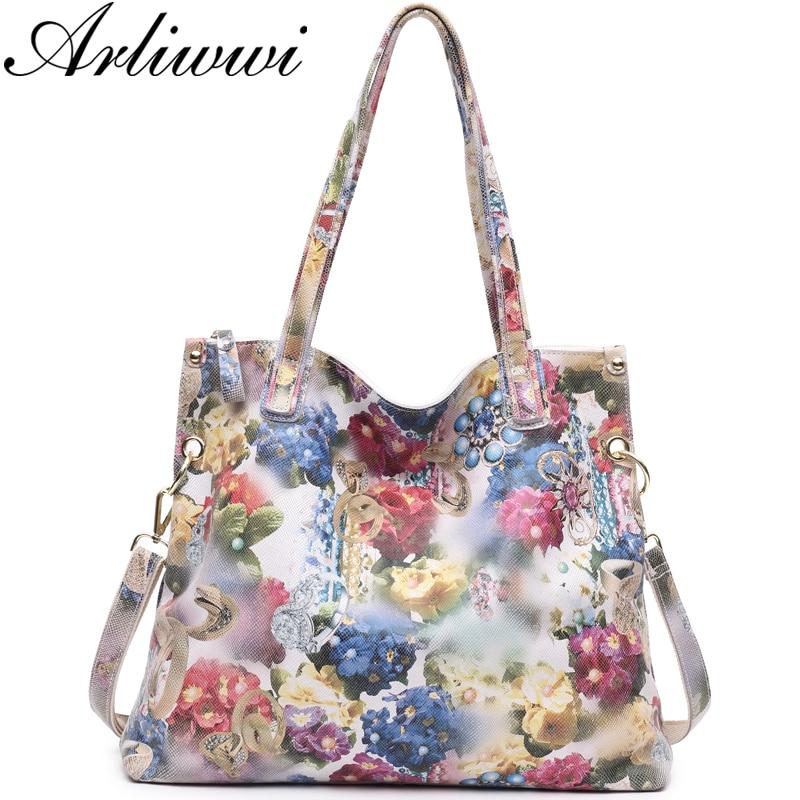 Arliwwi Brand Luxury Flower Designer Big Shoulder Bag 100 REAL LEATHER Shiny Flower Blossom Embossed Lady