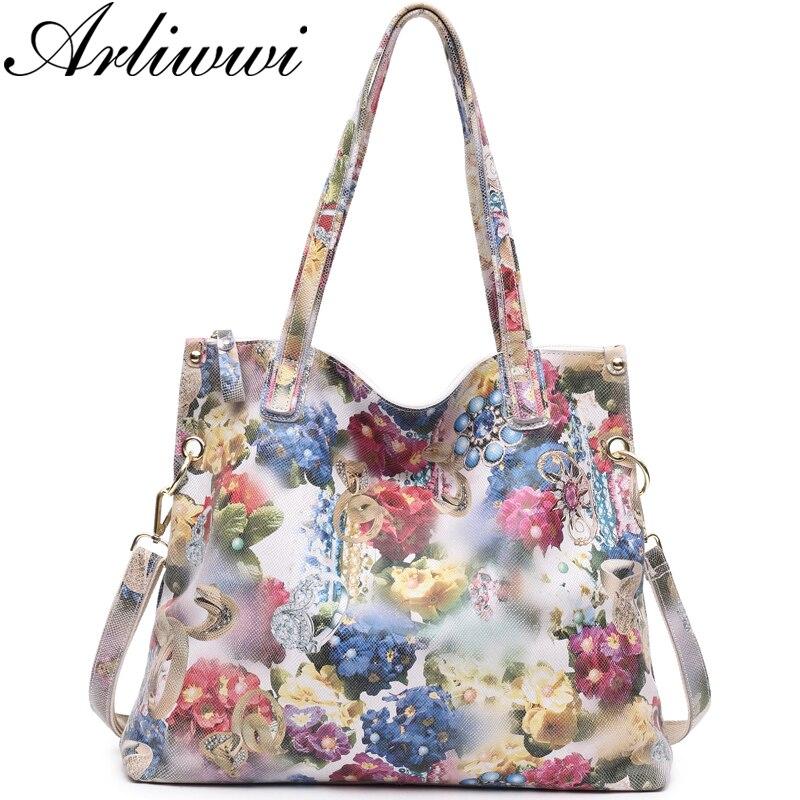 Arliwwi Brand Luxury Flower Designer Big Shoulder Bag 100% REAL LEATHER Shiny Flower Blossom Embossed Lady Messenger Handbags
