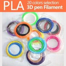 Pluma impresión 3D filamento PLA 1.75mm 20 colores (5 m/10 m * color) Creativo perfecto Impresora 3D de plástico Del Medio Ambiente materiales de seguridad