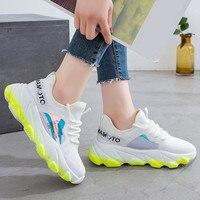 Кроссовки женские дышащие сетчатые розовые туфли на платформе женские Летние Повседневные вязаные туфли на плоской подошве прогулочная об...
