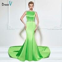 Dressv bud green long 2017 elegant evening dress trumpet sleeves sweep train wedding party formal dress mermaid evening dresses