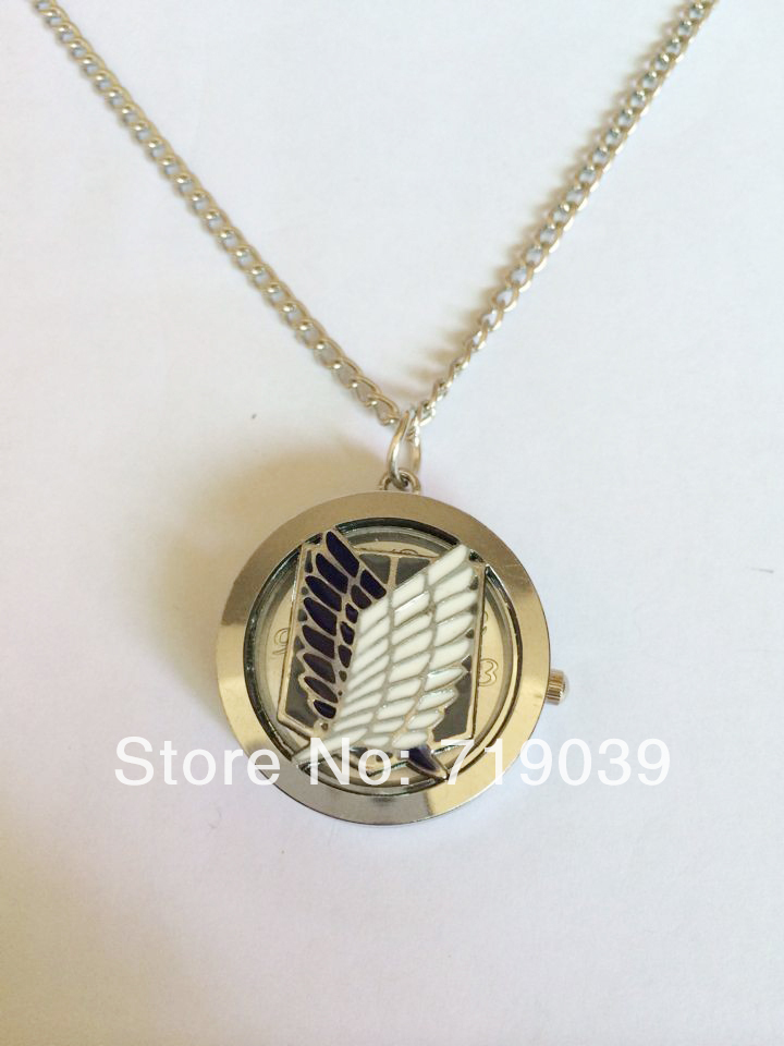 Hot Fashion silver charm Movie jewelry Attack on Titan survey corps side flip anime pocket watch necklace factory price