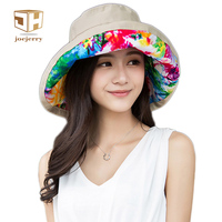Joejerry מודפס פרחוני לנשים Wide ברים כובעי שמש FishingWaterproof דלי כובע קיץ כובע דייג כובע אגן מתקפל הגנת uv