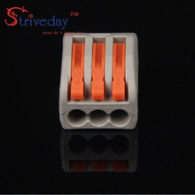 50pcs/lot High Quality 222-413 connector PCT-213 3P Universal Compact Wire Connector Conductor universal Terminal Block