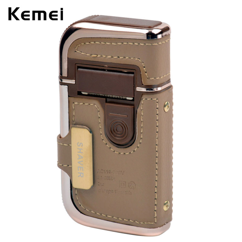 Kemei Travel Vintage Leather Wrapped Shaver Rechargeable Mustache Beard Trimmer Shaving Machine Facial Cleaning Razor for Men цена 2017
