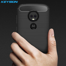4ea49bdbed91 KEYSION Fitted Case for Motorola MOTO E5 Play Carbon Fiber Soft TPU  Silicone Brushed Back Phone