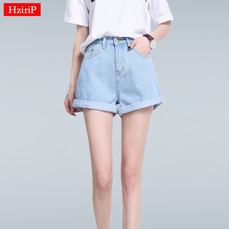 Hzirip 2019 Sommar Vintage Hög midja Denim Shorts Kvinnor Plus Size Loose Casual Solid Curling Kort Femme Basic Jeans Shorts