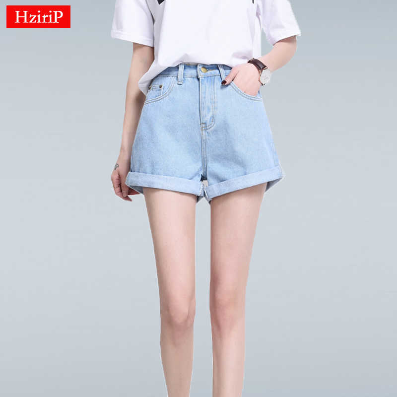 404637647 Hzirip 2019 Summer Vintage High Waisted Denim Shorts Women Plus Size Loose Casual  Solid Curling Short