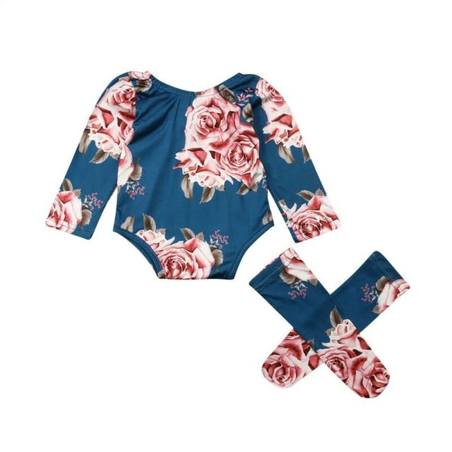 0-24M Newborn Baby Girl 2019 New Autumn Long Sleeve Romper Large Floral Jumpsuit Warm Leg Socks Outfit 4