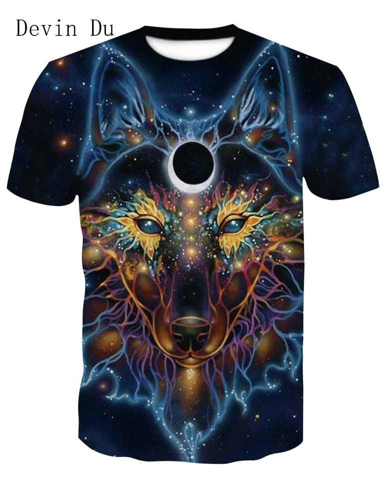 Devin Du 2018 Wolf t-shirts 3D Mannen T-shirts Novelty Animal Tops Tees Mannelijke Korte Mouwen Zomer Ronde Hals T-shirts dropshiping