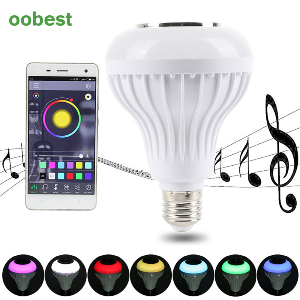oobest  Speaker bluetooth E27 LED RGB Light Music Bulb Lamp Color Changing via phone App Control mp3 player wireless bluetooth kmashi led flame lamp night light bluetooth wireless speaker touch soft light for iphone android christmas gift mp3 music player