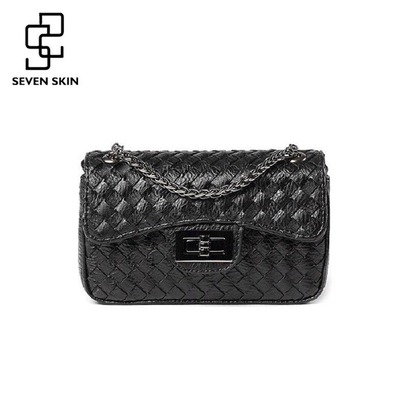 SEVEN SKIN Ladies Leather Messenger Bags Solid Design Fashion Women Crossbody Bags Knitting Chain Shoulder Flap Bag Sac Femme