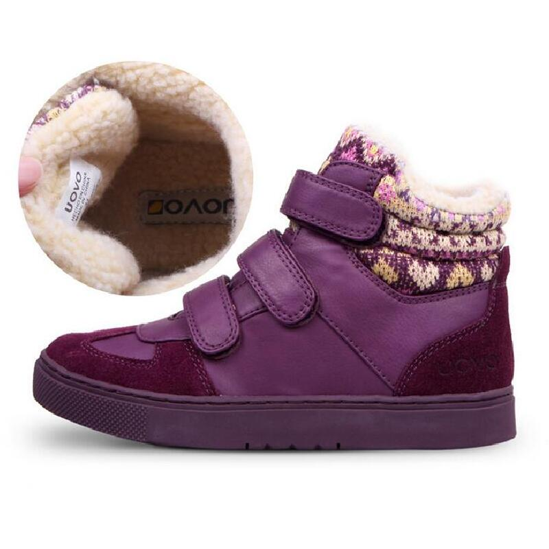 UOVO brand shoes kids autumn winter snow boots boys girls Plus velvet warm boots quality children fashion sneakers size 30-38 uovo 2017 new kids shoes fashion children rubber boots for girls boys high quality warm winter children snow boots size 33 38
