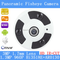 P2P 1 3MP 960P 360 Degree Wide Angle Fisheye Panoramic IP Camera ONVIF Infrared Security Dome