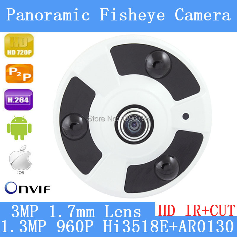 PU`Aimetis P2P 1.3MP 960P 360 Degree Wide Angle Fisheye Panoramic IP Camera ONVIF Infrared  Security Dome Camera 3MP 1.7 mm lens