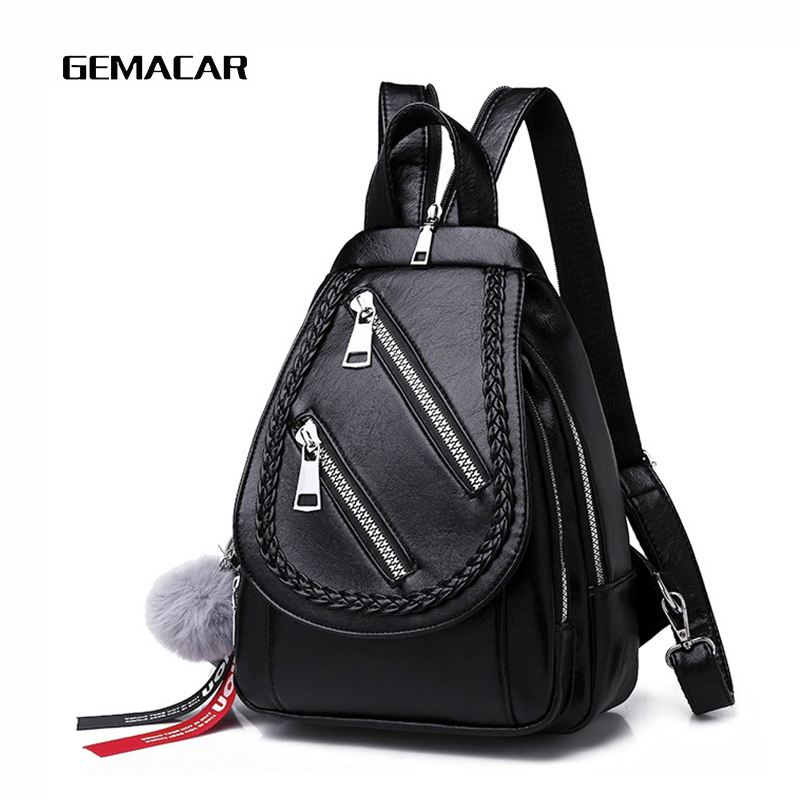 Womens Bagpack New High Quality Pu Leather Fashion Zipper Ladies Backpack Teenage Girls Casual Daypacks With Hairball