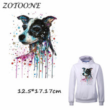 ZOTOONE Watercolor Dog Patches Iron on Transfer for Clothing T Shirt Beaded Applique Clothes DIY Accessory Decoration C