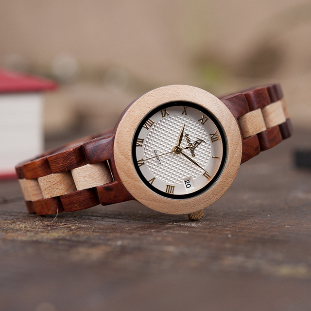 BOBO BIRD M19 Rose Sandal Wood Watch Women Minimal Dress Wristwatch Female Watches Top Brand Luxury 4