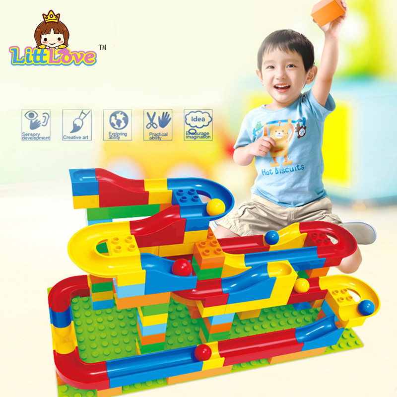 DIY Assembly Construction Marble Race Run Maze Gaming Balls Track Building Blocks Kid's Toys Blocks Education Toys For Children enlighten 678 7 105pcs marble race run maze balls building block construction figure toys gift for children compatible legoe