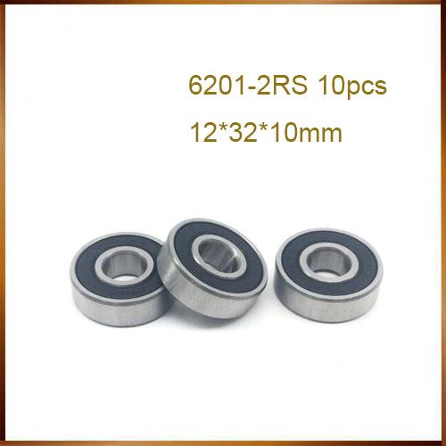 6201-2RS 10Pcs 6201-2RS 6201RS 6201 RS 12*32*10mm Deep Groove Ball Bearings 12 X 32 X 10mm For Bicycle Hubs